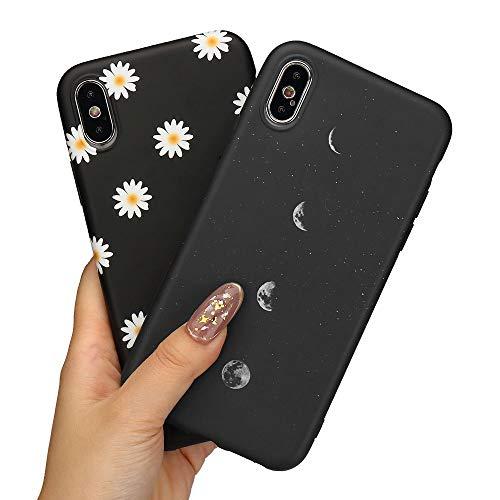LLZ.COQUE 2 Pack Handyhülle Kompatibel mit iPhone X/Xs Hülle Gänseblümchen Schutzhülle TPU Hülle Slim Hülle Cover Mond matt Handyhülle für iPhone X/Xs Hülle Mond und Gänseblümchen