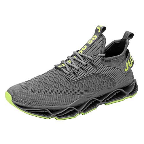 Zapatos para Correr Hombre Respirable Cómoda Gimnasio Zapatillas Casual Correr Aire Libre Sneakers Antideslizante Gris 40