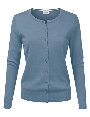 JJ Perfection Women's Button Down Soft Knit Long Sleeve Cardigan Sweater HBLUE 1X