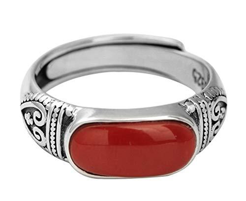 CHXISHOP Anillo de plata de ley 925 ágata roja para mujer, joyería de plata de ley, anillo ajustable para novia y madre.