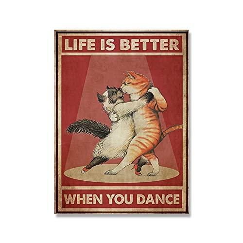 キャンバスポスター 猫面白いポスター猫のカップルプリントダンス愛好家壁画音楽ギフトキャンバスアートリビングルーム家の装飾フレームレコード (Color : 1, Size (Inch) : 20x30cm No Frame)