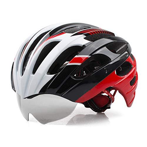 Mountainbike-Reithelm mit Brille leichte Helm Rennrad Männer und Frauen Brillenmodelle-White-L(56-62cm)
