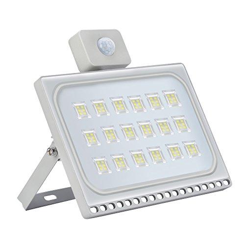 100W Projecteur LED Exterieur détecteur de Mouvement Etanche IP65 10000LM Lampe de sécurité 6500K Blanc froid Spot LED Exterieur Détecteur pour Jardin, Garages,Terrasse [Classe énergétique A+]