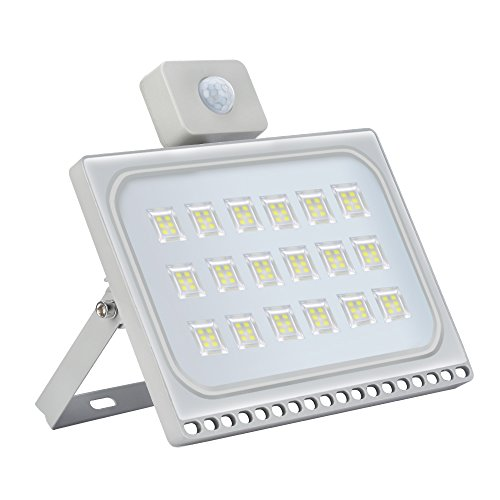 100W LED Strahler mit Bewegungsmelder, 6500K Kaltweiß Ultradünn LED Flutlicht 10000LM Wasserdicht IP65 AußenStrahler für Hof Garage Stadion Garten Spielplatz [Energieklasse A+]