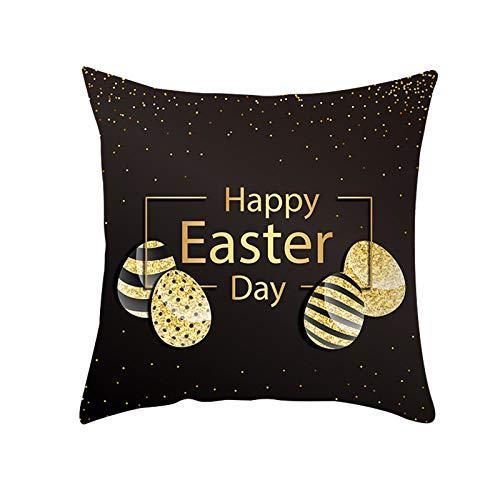 Funda de almohada de Pascua con diseño de conejo, diseño de huevo de Pascua, funda de cojín para sofá, cama, decoración del hogar y la sala de estar, 45 cm x 45 cm