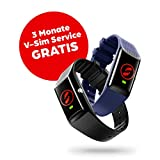 V By Vodafone V-SOS Band, ein Armband mit SOS-Alarmknopf und Sturzerkennung für drinnen und draußen, schwarz