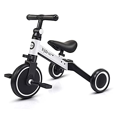 XJD 3 in 1 Kids Tricycle for 10 Month to 3 Years Old Kids Trike 3 Wheel Toddler Bike Boys Girls Trike for Toddler Tricycle Baby Bike Infant Trike with Adjustable Seat Heigh and Removable Pedal, White