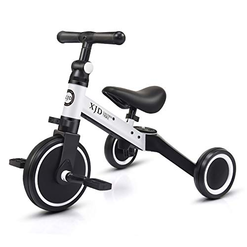XJD 3 in 1 Kids Tricycles for 10 Month -3 Years Old Kids Trike 3 Wheel Toddler Bike Boys Girls Trikes for Toddler Tricycles Baby Bike Trike Upgrade 2.0, White