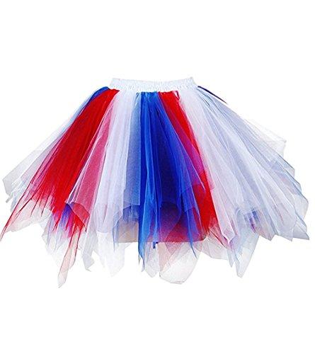 OBBUE Women's Short Vintage Petticoat Skirt Ballet Bubble Tutu Multi-Colored z-Blue-Red-White S/M