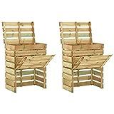 vidaXL 2 x Compostatore in legno di pino impregnato per compostiera da giardino, riciclato, per cucina, patio, terrazza, balcone, contenitore per compostaggio 80 x 50 x 100 cm