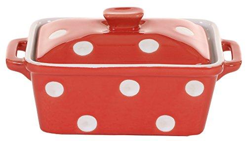 Isabelle Rose - IR5485 - Keramik Butterdose/Mini Backform - rot mit weißen Punkten/Polka dot