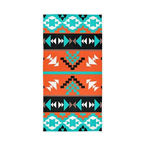 Rootti - Toalla de mano de algodón con patrón geométrico étnico, lavable, toalla de cara, toalla suave y transpirable, toalla de sudor, juego de toallas para nadar hotel