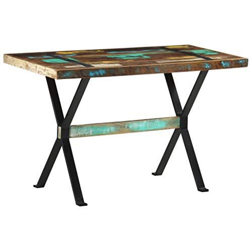 vidaXL Dining Table Industrial Home Interior Furniture Restaurant Kitchen Dining Room Side Table Wooden Dinner Desk 120 cm Solid Reclaimed Wood