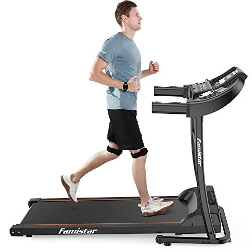 Portable Electric Folding Treadmill, Famistar Motorized Running Jogging Machine with LED Display, Rolling Wheels, Built-in MP3 Speaker, 12+3 Modes Fits All Family Home Workout