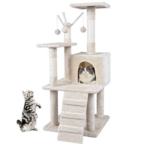 MC Star Kratzbaum Katzen Stabil 120cm Katzenkratzbaum Katzenbaum Mittelhoch Natur Sisal mit Treppe, Spielhaus, Verdickte Plattform und Bell Spielzeugkugel (Beige)