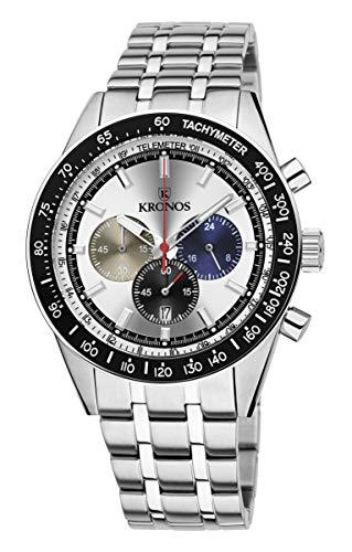 KRONOS - Vintage Sport Chronograph Silver 944.8.105 - Reloj de Caballero de Cuarzo, Brazalete de Acero, Color Esfera: Plateada