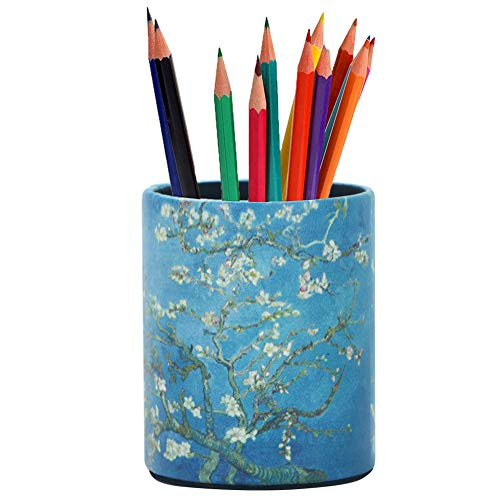 LIZIMANDU PU Leather Pencil Pen Holder,Round Pencil Cup Stationery Desk Organizer Control Storage Box for Home Office Bedroom(1 Pack,1-Peach Blossom)