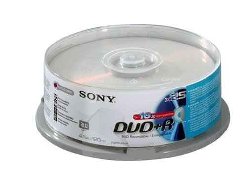 Sony 25DPR120BSP beschreibbare 4,7GB DVD+R 16x, 25er Spindel mit 120 Minuten je DVD