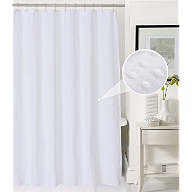 Waffle Weave Fabric Shower Curtain – Spa, Hotel Luxury, Heavy Duty, Water Repellent, White – Pique Pattern, 70  x 72  for Decorative Bathroom Curtains (230 GSM)