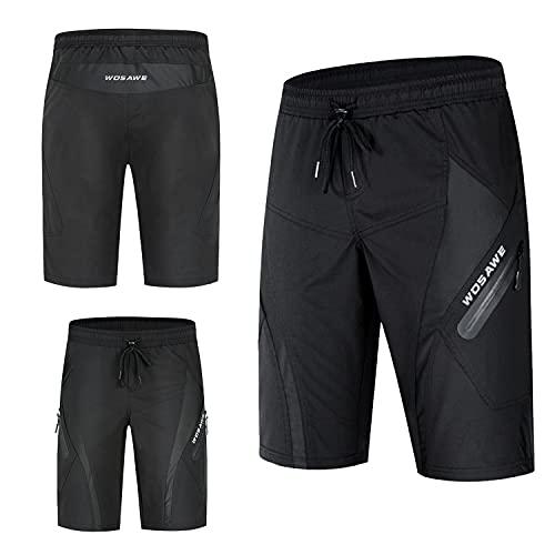 BeIM Herren MTB Hose Kurze Shorts mit Reißverschlusstaschen Schnelltrockend Sporthose Für Radsport Joggen Bergsteigen Outdoor Schwarz Sommer (Schwarz, L, l)