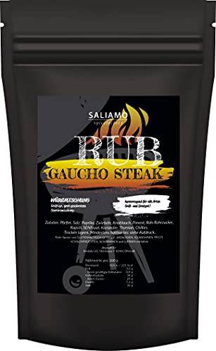 250g GAUCHO Steak-Gewürzzubereitung, Grillgewürz Rub, Steakgewürz, grob mit Pfeffer, Salz, Paprika, Zwiebeln, Knoblauch, Piment, Roh-Rohrzucker, auch zu Geflügel | Saliamo