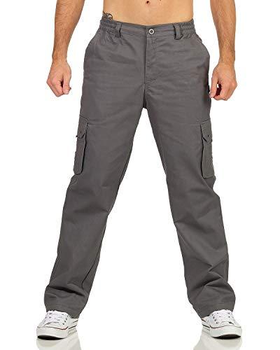 ZARMEXX Herren Thermohose Freizeithose mit Dehnbund Cargohose Winter warm gefütterte Arbeitshose Outdoor Workwear (grau, M)