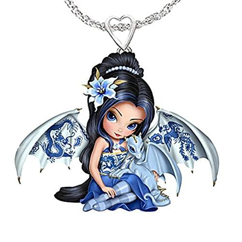 collar Collar Con Colgante De Resina De Niña Dragón Bonito A La Moda Para Mujer, Collar Exquisito De Alas Azules De Hada Para Mujer, Regalo De Joyería Para Novia