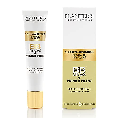 Planter's - BB Cream Penta 5 Acido Ialuronico + Primer Filler. Effetto filler anti-età e antirughe grazie ai 5 acidi ialuronici. Protezione solare UVA/UVB. 40 ml.