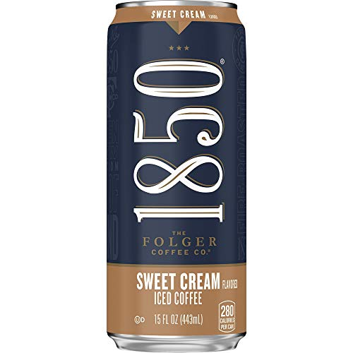 1850 By Folgers Sweet Cream Flavored Iced Coffee Beverage , 15 Fluid Ounces (Pack of 12), Ready to Drink
