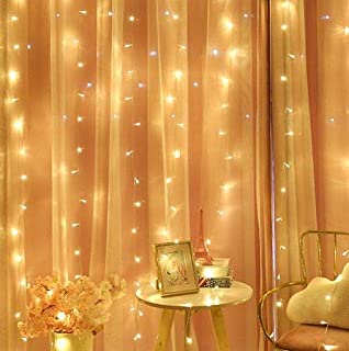Curtain String Light 300 LED Fairy String Light 8 Modes Control Decoration USB Powered Waterproof Lights for Christmas Bedroom Party Wedding Home Garden (9.8ft X 9.8ft,Warm White)