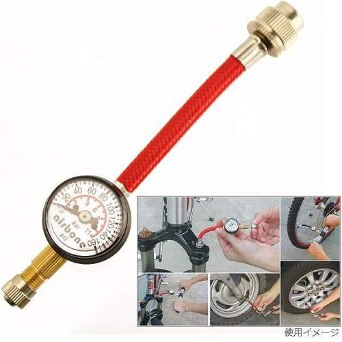 エアボーン(Airbone) ZT-611 空気圧ゲージ 最大160PSI 米式バルブ対応 手持ちのポンプにゲージ機能を追加!