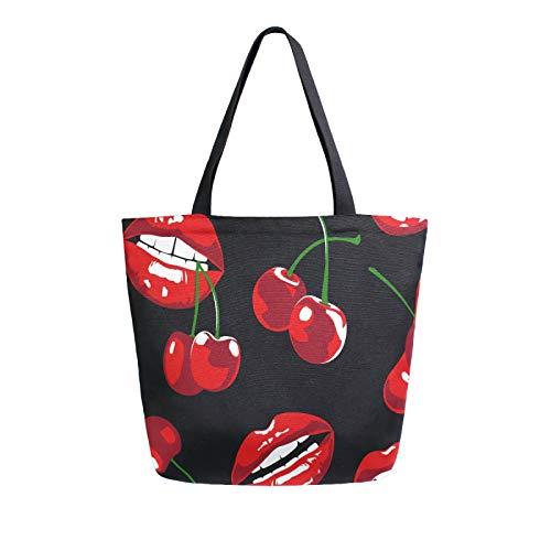 Lerous Große Canvas-Tragetasche mit roten Lippen und Kirschen, wiederverwendbare Leinentaschen, Schultertasche, Büchertaschen, Einkaufstaschen, tragbare Aufbewahrung, Handtaschen für Damen/Mädchen