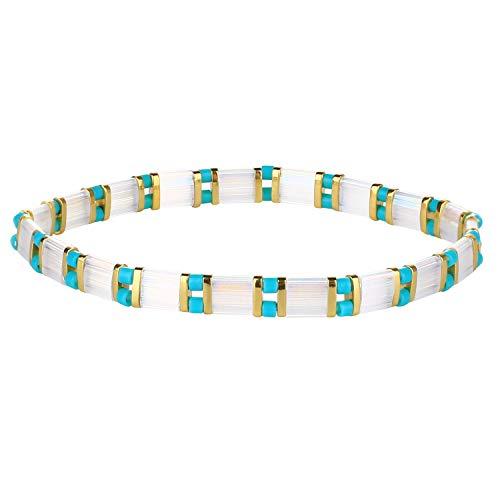 C·QUAN CHI Stretch Friendship Bracelet for Women Girls Colorful Beaded Bracelet Bangle Strand Bracelets TILA Stackable Bracelets, C