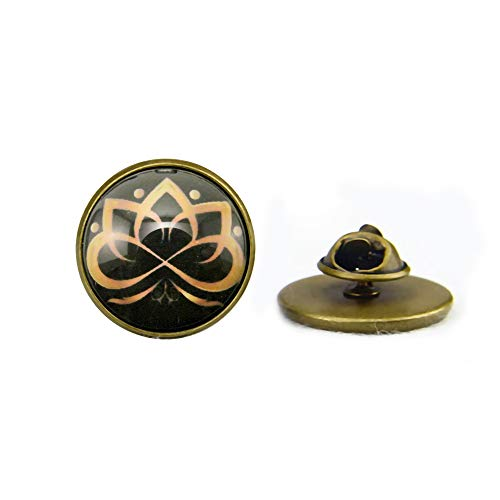 Broches de loto dorado, diseño elegante en oro y negro, geometría espiritual, regalo para él o ella, arte espiritual