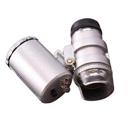 Yonger Mini 60x LED UV Light Pocket Microscope Jeweler Magnifier Adjustable Loupe