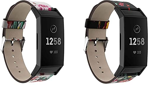 Gransho Correa de Reloj Compatible con Fitbit Charge 4 / Charge 4 SE/Charge 3 SE/Charge 3, Cross Piel Correa/Banda/Pulsera/Reemplazo (Pattern 2+Pattern 4)