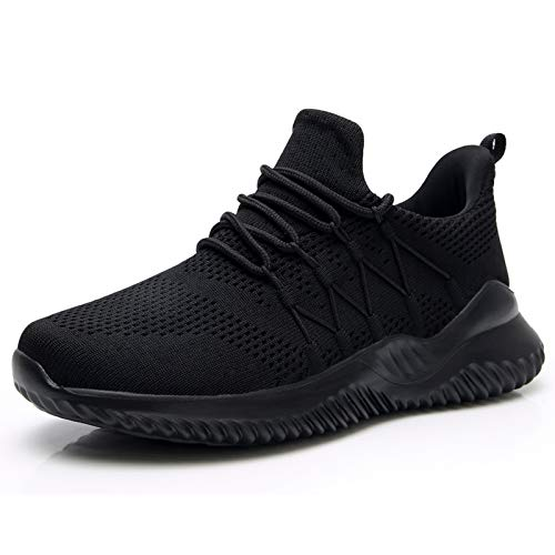 Akk Black Tennis Shoes for Women Athletic Casual Mesh Comfortable Work Sneakers Slip on Lightweight Shoe US 7.5/EU 38