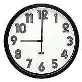 ANSIO Reloj de Pared, Reloj de Pared Redondo con Marco Negro
