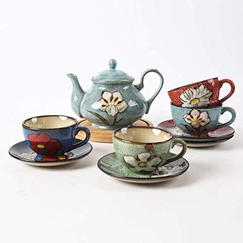 WY-YAN Vceramics la taza de café Platillo Set con 4 piezas, Casa Porcelana juego de té con el plato de la tetera y de café, té dibujado mano Vintage Taza Y Platillo Set
