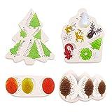 4 pezzi Stampi per fondente di Natale Stampo per albero di Natale in silicone Stampi da forno in silicone 3D di Natale Renna Stampi Per Dolci Al Cioccolato Torta Gelatina per decorazione di una torta