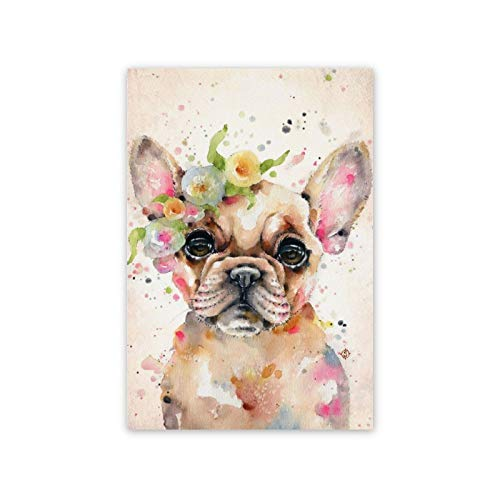 3D Printed Canvas Art Painting Posters Little Miss Frenchie Canvas Prints Framed Ready to Hang For Living Room Bedroom Office Home Decoration 12'x16'