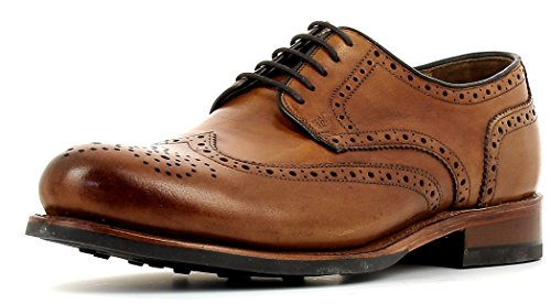 Gordon & Bros Levet 2318 Flex N Rahmengenähter Herren Derby Schnürhalbschuh, Full Brogue, Flexible Goodyear Welted Sohle, für Business, Freizeit Braun (British Tan), EU 43