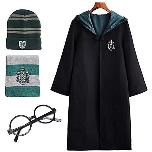 Deciduous Disfraz de Harry para niños unisex Slytherin, capa de capa, bufanda, disfraz de carnaval, Halloween, niños y niñas, traje mágico de uniforme escolar