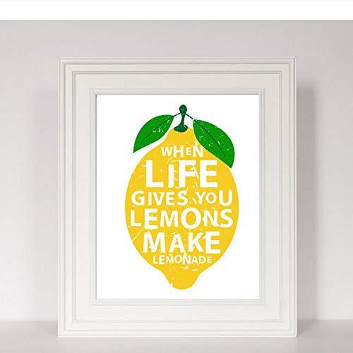 LLXHG Modern, als het leven je citroenen Gibt, maak limonade keuken decor canvas schilderij print poster muurkunst foto's huis decoratief-20 x 30 cm geen lijst