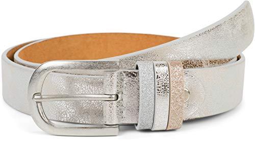 styleBREAKER Damen Gürtel Uni mit Glitzer Schlaufe, kürzbar 03010091, Farbe:Antik-Silber, Größe:95cm