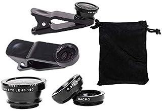 Rotación de 360 Grados con Forma de Cola de tiburón Kits de Lentes para cámaras fotográficas Lente Universal para Peces de 180 Grados Lente Macro 0.65X Gran Angular 10X Macro - Negro