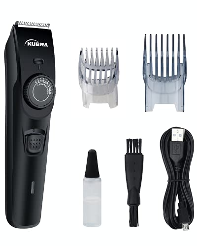 Kubra KB-1088 Hair and Beard Trimmer with USB Charging, 40 Length Setting, 45 minutes Cordless use, 1 Year Warranty (Black)