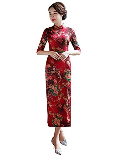 HangErFeng Qipao Chinese Dresses with Silk and Mulberry Printed in Dresses and Long Cheongsams (XL)