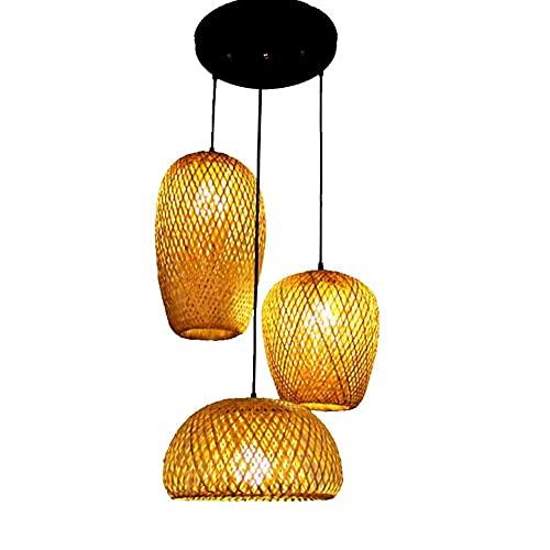CAIMEI Lámpara Colgante de Bambú con 3 Cabezas de Mimbre, Pantalla de Bricolaje, Lámpara Colgante, Lámpara de Ratán Hecha a Mano, Lámpara Antigua E27, Porche, Mesa de Comedor, Cafetería, Cocina, Lámp