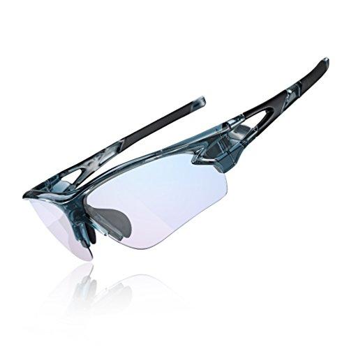 ROCKBROS Occhiali da Sole Ciclismo Sportivi PC Lenti Trasparenti Fotocromatiche UV400 Ultraleggero UNISEX